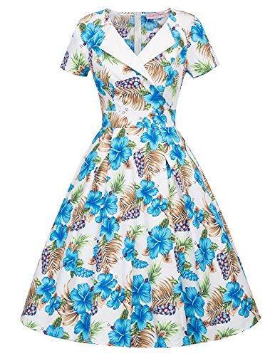 1950s Floral Sleeve Party Belle Floral Poque Short Pockets Vintage with Dress 02 Women's OEnxnBqw1