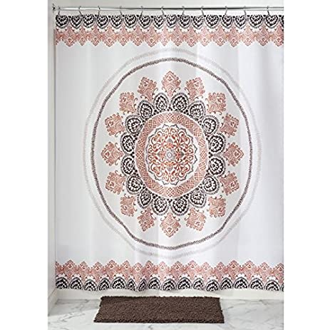 MDesign Pattern Medallion Fabric Shower Curtain   72u0026quot; X 72u0026quot;,  Earthtone Multi Color