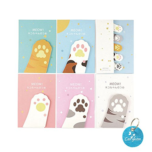 Carykon Cute Cat's Paw Shaped Sticky Notes Memo Pads, 10 Pads/Pack (5 Large & 5 Small), 30 Sheets/Pad (Cat's Paw)