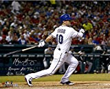 "Michael Young Texas Rangers Autographed 16"" x 20"" Bat Down Photograph with Rangers All-Time Hits Leader Inscription - Fanatics Authentic Certified"