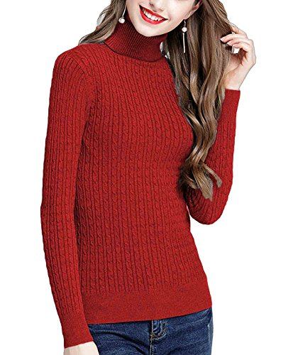 - MFrannie Womens Twist Ribbed Cable Stretchy Fit Knit Turtleneck Sweater Maroon S