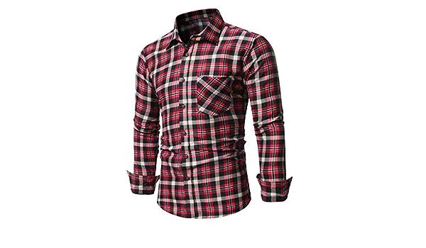 LHWY Camisa de Hombre Blusa Casual de Manga Larga con Botones ...