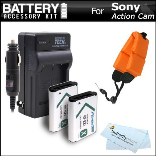 2 Pack Battery And Charger Kit For Sony HDRAS100VW HDR-AS100VR HDR-AS15 HDR-AS30V HDR-MV1 HDR-AS200V FDR-X1000V HD Action Camcorder Includes 2 Replacement NP-BX1 Batteries  AcDc Charger  More