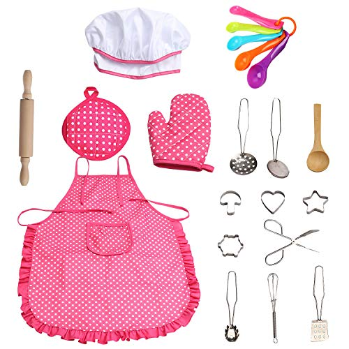 SOTOGO 21 Pieces Kids Chef Set Children Cooking Play Kids Cook Costume with Utensils for Boys & Girls (Pink Point) -