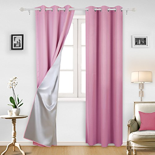 Deconovo Blackout Window Curtains with Silver Coating Grommet Blackout Curtains for Girls Bedroom 42W x 95L Inch Pink 2 Panels