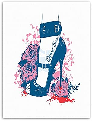 Stiletto Crush rosas Reina corazones sangre ilustración lienzo Art ...