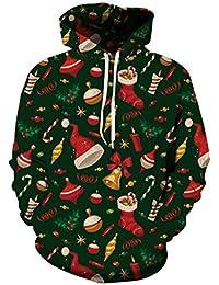 Unisex 3d Printed Reindeer Snowflake Pouch Pocket Ugly Christmas Sweatshirt Hoodies