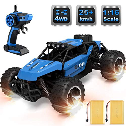allcaca Remote Control Car Terrain RC Cars 2.4GHz High-Speed Electric Remote Control Off Road Monster Truck, 1/16 Scale RC Off-Road Vehicle 4WD RC Stunt Car for Kids, Blue