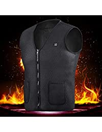 USB Charging Heating Vest, Womdee Electric Heated Vest New Lightweight Washable Electric Heated Clothing Winter Charging Warm Vest for Outdoor Riding Skiing Camping Hiking (Black) M Size