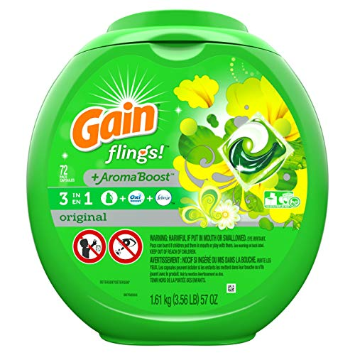 (Gain Flings Laundry Detergent Pacs, Original Scent, 72 count (Packaging May Vary) )