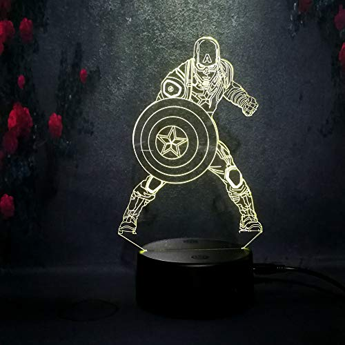 3 Dead Man Action Figure - 7Color Change Captain America Shield Figure 3D Acrylic Night Light LED Touch Illusion Birthday Christmas Child Gift