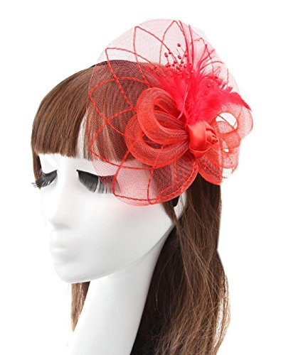 Black And White Mini Rose Top Hat (MerryDay Women's Fascinators Small Hairpin Feather Hat)