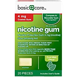 Basic Care Nicotine Gum 4 mg Stop Smoking Aid, Cool Mint, 20 Count