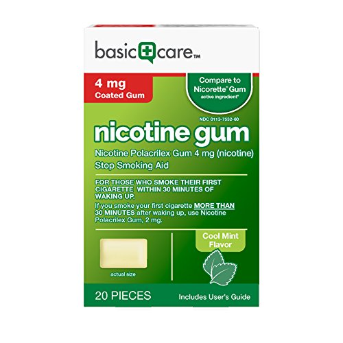 Basic Care Nicotine Gum 4 mg Stop Smoking Aid, Cool Mint, 20 Count - Nicotine Replacement