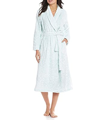 Miss Elaine Damask Luxe Fleece Wrap Robe 100% Polyester at Amazon Women s  Clothing store  331330dc2