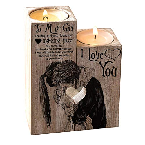2020 Transer to My Girl Heart-Shaped Craft Wooden Candle Holder Shelf Valentine's Day Decoration Gift (Multicolor)