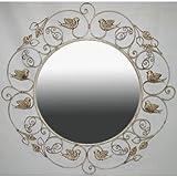Ashton Sutton Mirror with Cream Finish and Birds For Sale