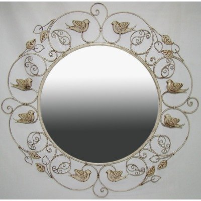 Ashton Sutton Mirror with Cream Finish and Birds (Mirror Wall Framed Cream)