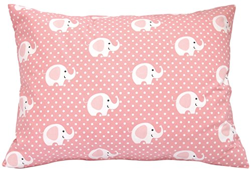 Kids Toddler Pillowcase 13x18 by Comfy Turtles, 100% Cotton, Soft Hypoallergenic Cover for Wonderful Sleep and Dreams, Design for Boys and Girls (Pink Elephants) ()