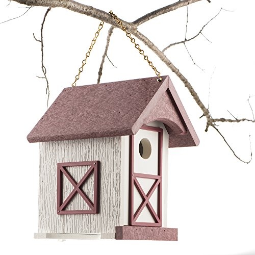 "Handmade, Poly Wood Birdhouse 9½"" x 7"" x 8½"" for hanging/mounting outdoors (gardens, backyards, patios & decks). Men, women and kids will enjoy this maroon and white birdhouse and the (Recycled Plastic Lumber)"