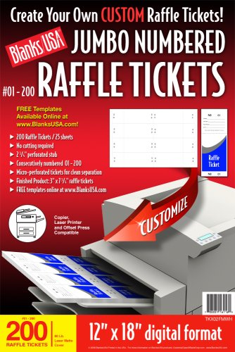 Blanks/USA Pre-Cut Jumbo Numbered Raffle Tickets (TKX02FMWH) (Ticket Printer Paper compare prices)