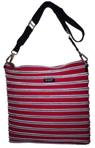 BAM Bags Women's Xander Bag Nylon Red & Silver One Size (Bam Bags Handbag)