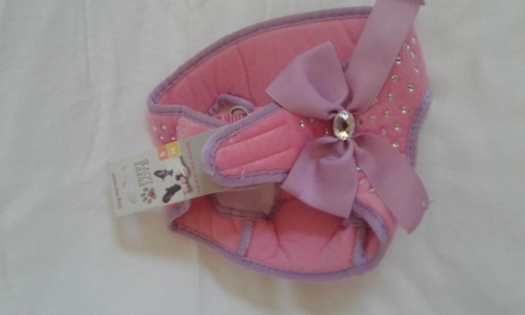 Puppy Love Pink Rhinestone Step-In Dog Harness Small/Medium