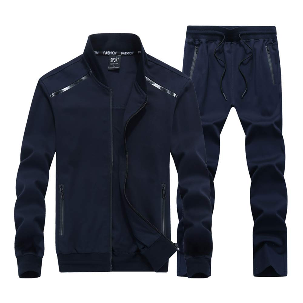 INVACHI Mens 2 Pieces Athletic Full Zip Sports Sets Jacket & Pants Active Fitness Jogging Sweat Tracksuit Set by INVACHI