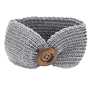 DaySeventh Baby Knitting Infant Kids Girl Button Headbands Head Wrap Knotted Hair Band (Gray)