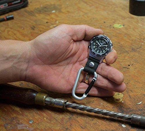 Dakota Watch Company Men's Aluminum Backpacker Clip Watch, Black