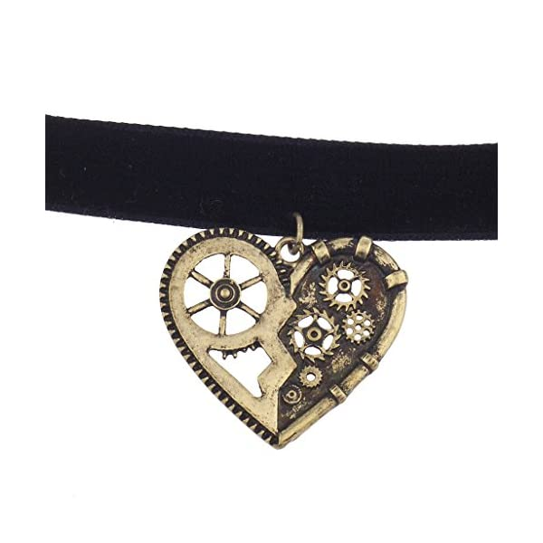 Lux Accessories Black Velvet Burnished Gold Tone Steampunk Gear Heart Choker 4