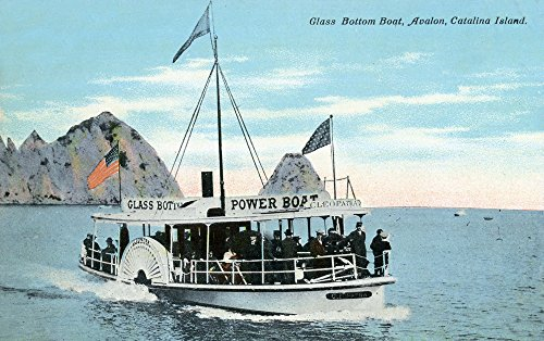 Santa Catalina Island, California - Glass Bottom Boat on Avalon Bay (16x24 SIGNED Print Master Giclee Print w/Certificate of Authenticity - Wall Decor Travel Poster)