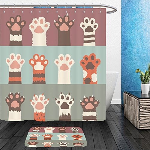 Vanfan Bathroom 2 Suits 1 Shower Curtains & 1 Floor Mats cats paw icon set isolated on background simple cartoon flat style vector illustration 360576881 From Bath - Cat Rihanna Eye