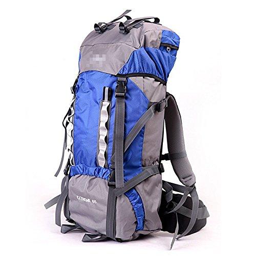 65L Outdoor Sport Klettern Taschen durchgeführt Camping Cr 2-Männer und Frauen Zurück Sport Pauschalreisen, blau