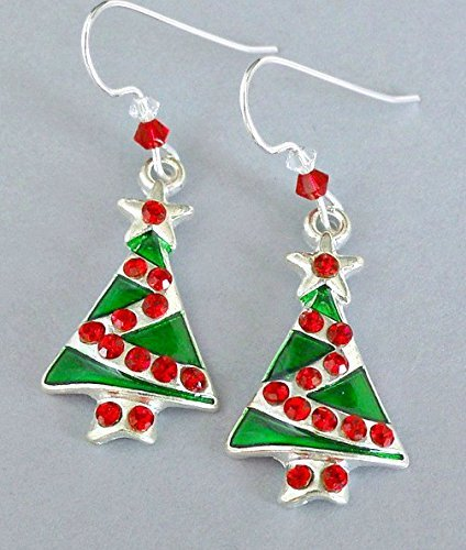Enameled Christmas tree earrings with Swarovski crystal