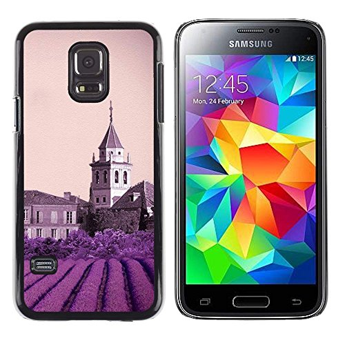 GIFT CHOICE / Slim Hard Protective Case SmartPhone Shell Cell Phone Cover for Samsung Galaxy S5 Mini, SM-G800 // Nature Purple Flower Castle //