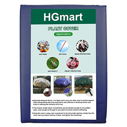 HGmart Round Frost Protection Plant Cover Fabric Frost Blanket Outdoor Shrub Jacket for Winter Frost Cold,0.95oz Dia12′,Dark Blue