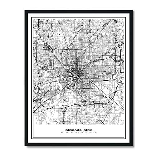 Susie Arts 11X14 Unframed Indianapolis Indiana Metropolitan City View Abstract Street Map Art Print Poster Wall Decor - Art Map Print Poster