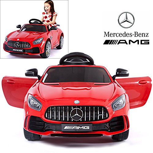 (Mercedes Benz AMG GTR Electric Ride On Car with Remote Control for Kids | 12V Power Battery Official Licensed Kid Car to Drive with 2.4G Radio Parental Control Opening Doors Red)