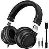 HEMRLY On-Ear Headphones HD Microphone, HiFi Stereo Extra Bass Earphones Noise Cancelling Headphone Men Women, USB Headset Wired Mode Tablet Android Smartphones Laptop Computer
