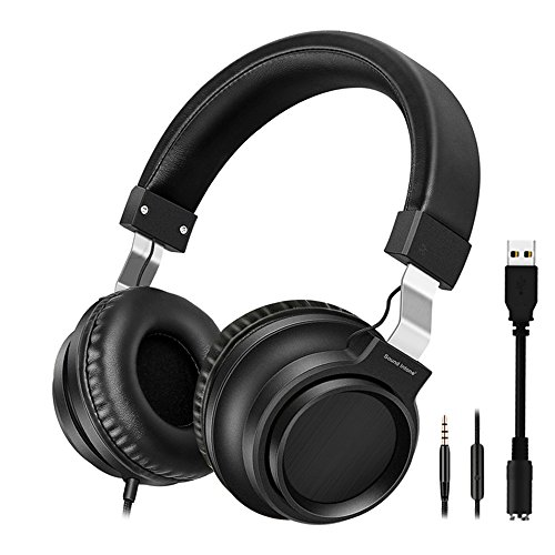 Clearchat Usb Headset - On-Ear Headphones with HD Microphone, HiFi Stereo Extra Bass Earphones Noise Cancelling Headphone for Men Women, USB Headset Wired Mode for iPhone Tablet Android Smartphones Laptop Computer