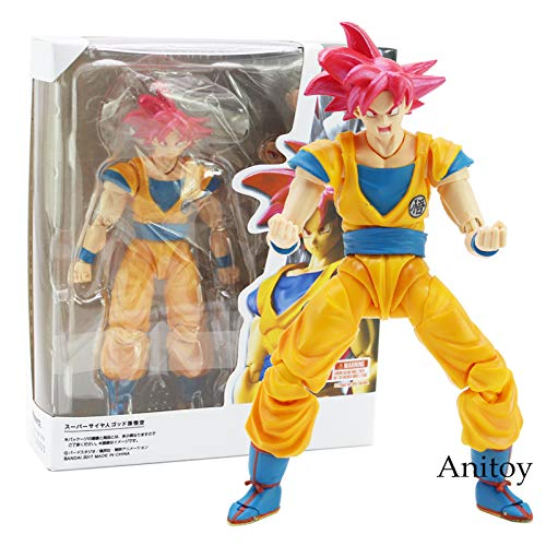 VIETXD Dragon Ball Super Saiyan God Son Goku Red Hair Gokou Dragon-Ball PVC Action Figure Collectible Model Toy 15Cm- Multicolor Complete Series - Legends Gifts Movies Comic Toys Collection (Best Dragon Ball Psp Game)