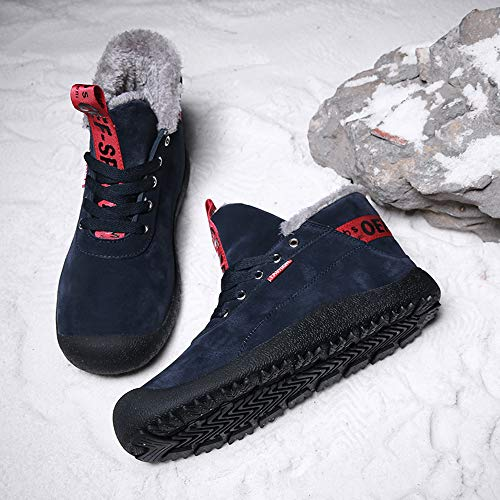 Lace Boots Blue Suede Gaapot Booties Warm Winter up Outdoor Anti Slip Snow Men's Women's Lined Fur Boots Ankle Shoes XfqX8