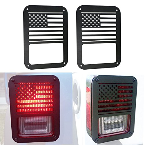 ICars Tail lamp Tail light Cover Trim Guards Protector For Rear Taillights 2007-2016 Jeep Wrangler JK Unlimited Accessories (USA Flag)