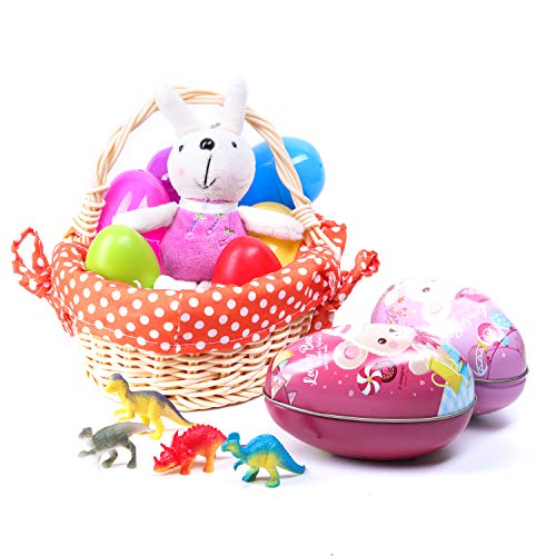 Easter Egg Easter Basket Toy Kit - Woodchip Woven Easter Basket with cloth liner, Two (2) Wooden colored Easter Eggs, Four (4) in-egg Dinosaur Characters, Two (2) Egg-Shaped Tin Cases -