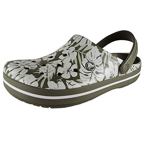 Crocs Crocband Tropical Print Clogs, Army Green, Men's 9 US M/Women's 11 US M