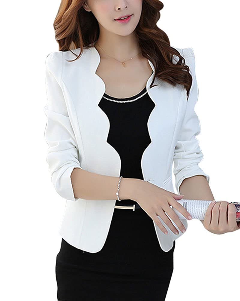 ZhuiKun Women's Basic Slim-Fit Short Blazer Jacket