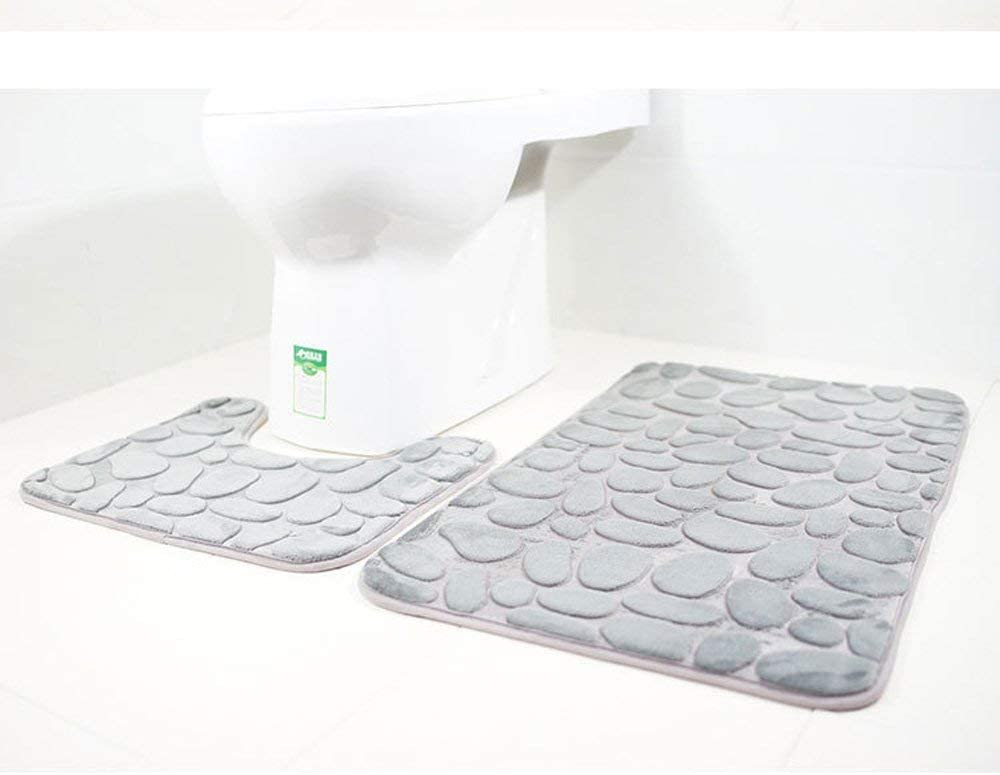 U-f/örmigen Contour Matte und WC-Sitz Bezug rutschfeste 3 Badteppich Set Super Soft Badteppich und WC Vorleger Memory Foam Pebble Dusche Matte Schnell trocknend Badezimmer Matte Teppich