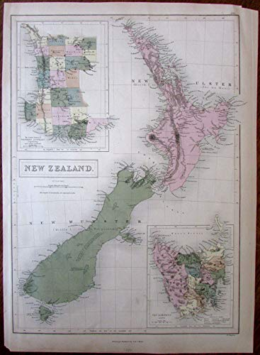 - New Zealand van Diemens Land SW Australia 1850 Hughes large folio antique map
