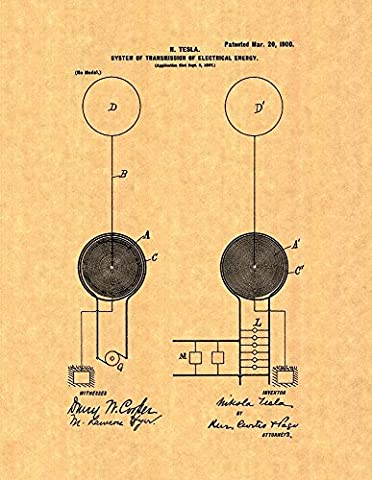 Tesla System Of Transmission Of Electrical Energy Patent Print Art Poster (8.5